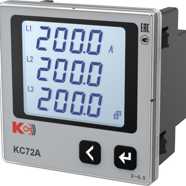 КС72А — Амперметр трёхканальный (лицевая панель 72х72 мм)